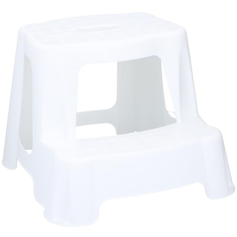 Wit kinderkrukje/opstapje met 2 treden 35 cm