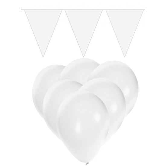 Witte ballonnen en vlaggenlijnen set