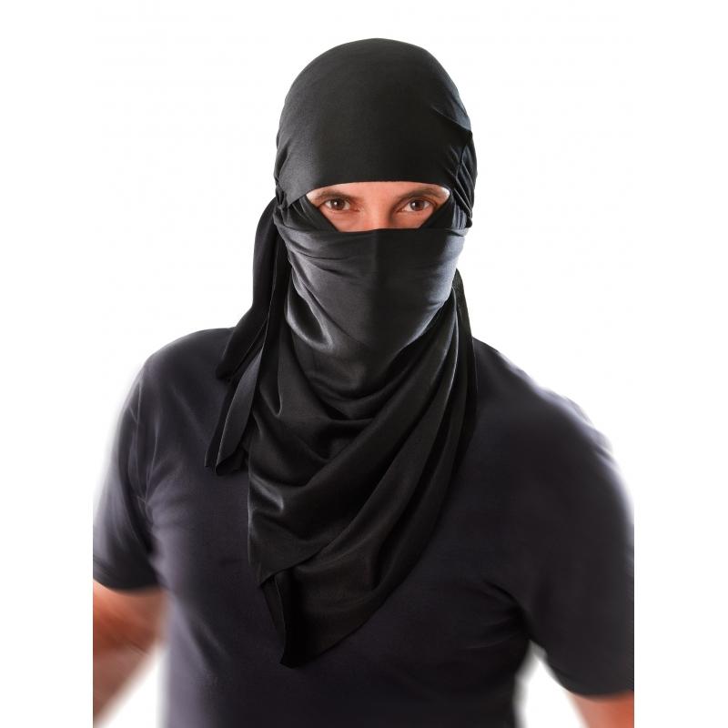 Zwarte ninja hoofddoek voor volwassenen