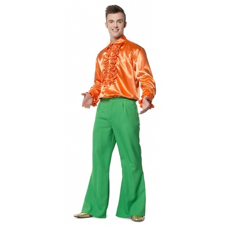 Carnavalskleding groene wijde heren broek Verkleedkleding